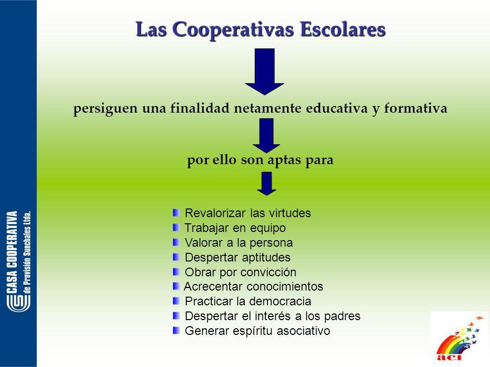 Las Cooperativas Escolares persiguen una finalidad netamente educativa y formativa por ello son aptas para Revalorizar las virtudes Trabajar en equipo