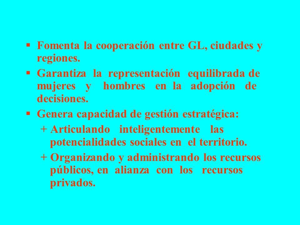 Fomenta la cooperación entre GL, ciudades y regiones. Garantiza la representación equilibrada de mujeres y hombres en la adopción de decisiones. Gener