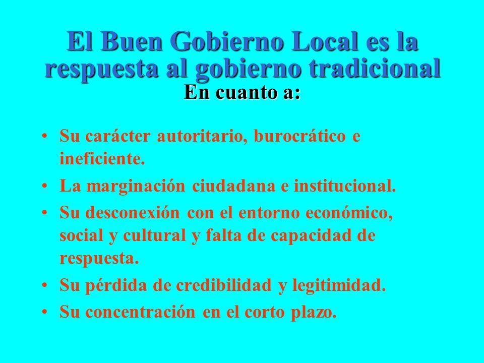 El Buen Gobierno Local es la respuesta al gobierno tradicional En cuanto a: Su carácter autoritario, burocrático e ineficiente. La marginación ciudada