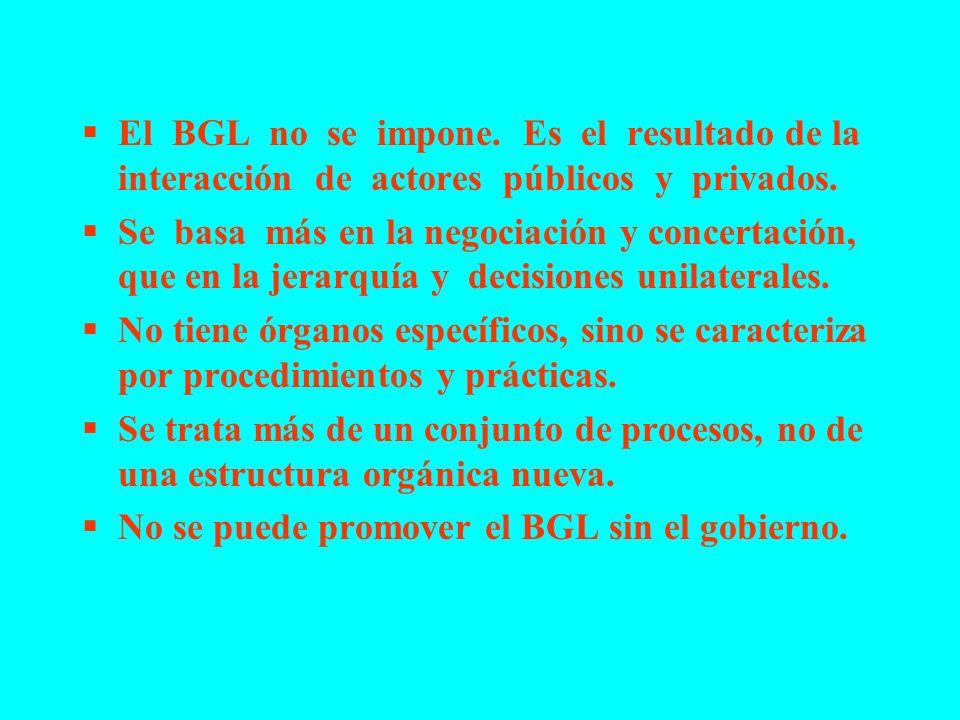 El BGL no se impone. Es el resultado de la interacción de actores públicos y privados. Se basa más en la negociación y concertación, que en la jerarqu
