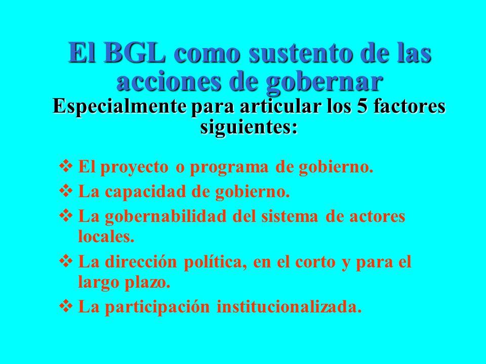 El BGL como sustento de las acciones de gobernar Especialmente para articular los 5 factores siguientes: El proyecto o programa de gobierno. La capaci