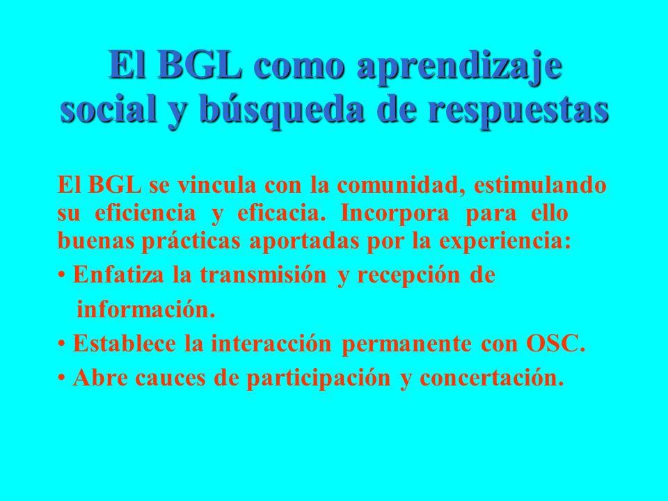 El BGL como aprendizaje social y búsqueda de respuestas El BGL se vincula con la comunidad, estimulando su eficiencia y eficacia. Incorpora para ello