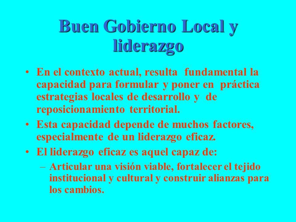 Buen Gobierno Local y liderazgo En el contexto actual, resulta fundamental la capacidad para formular y poner en práctica estrategias locales de desar