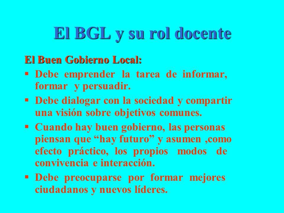 El BGL y su rol docente El Buen Gobierno Local: Debe emprender la tarea de informar, formar y persuadir. Debe dialogar con la sociedad y compartir una