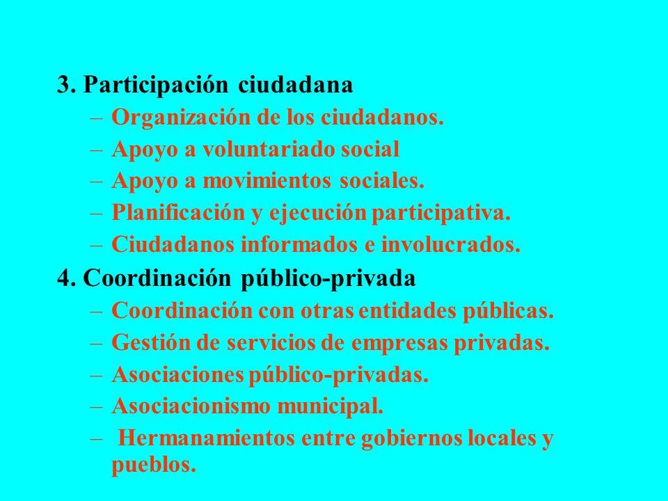 3. Participación ciudadana –Organización de los ciudadanos. –Apoyo a voluntariado social –Apoyo a movimientos sociales. –Planificación y ejecución par