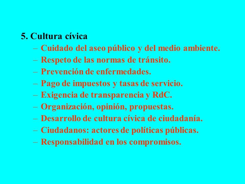5. Cultura cívica –Cuidado del aseo público y del medio ambiente. –Respeto de las normas de tránsito. –Prevención de enfermedades. –Pago de impuestos