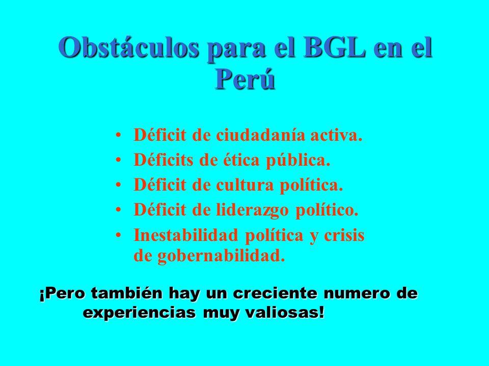 Obstáculos para el BGL en el Perú Déficit de ciudadanía activa. Déficits de ética pública. Déficit de cultura política. Déficit de liderazgo político.