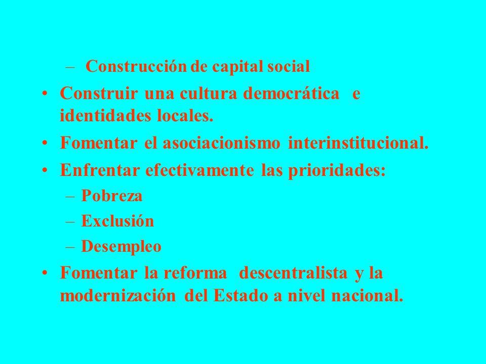 – Construcción de capital social Construir una cultura democrática e identidades locales. Fomentar el asociacionismo interinstitucional. Enfrentar efe