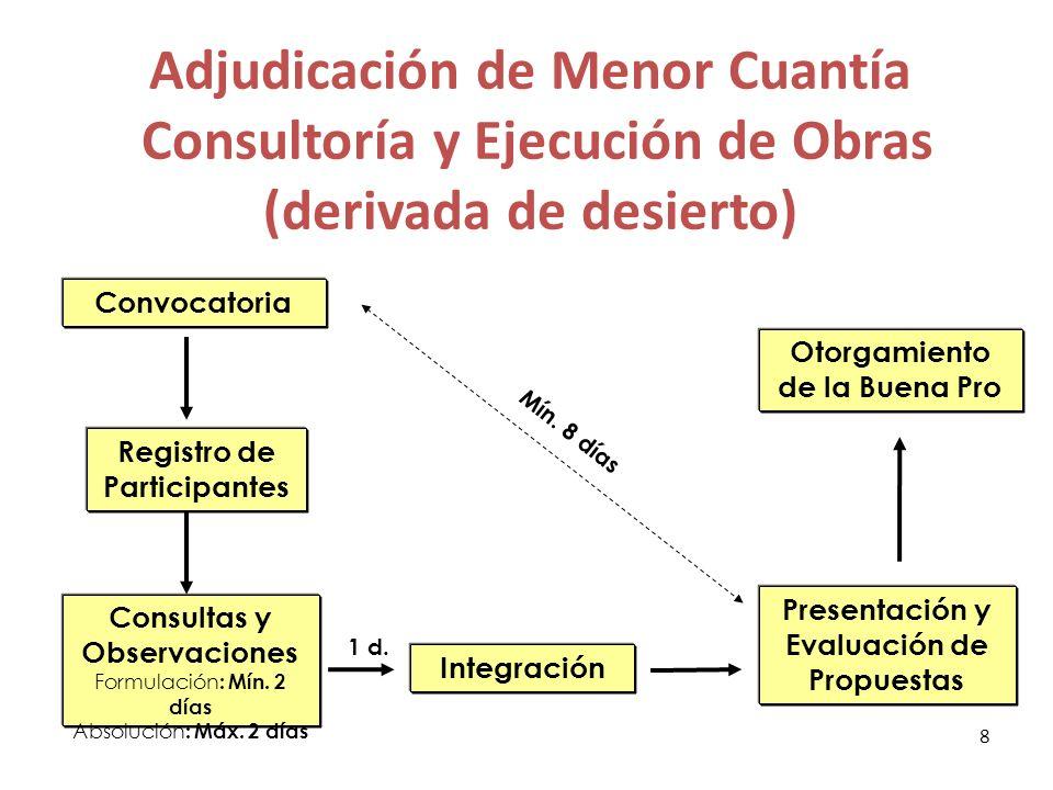 LP y CP DU 078-2009 Convocatoria Registro de Participantes Consultas y Observaciones Formulación: Mín.
