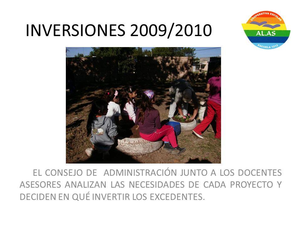INVERSIONES 2009/2010 EL CONSEJO DE ADMINISTRACIÓN JUNTO A LOS DOCENTES ASESORES ANALIZAN LAS NECESIDADES DE CADA PROYECTO Y DECIDEN EN QUÉ INVERTIR L