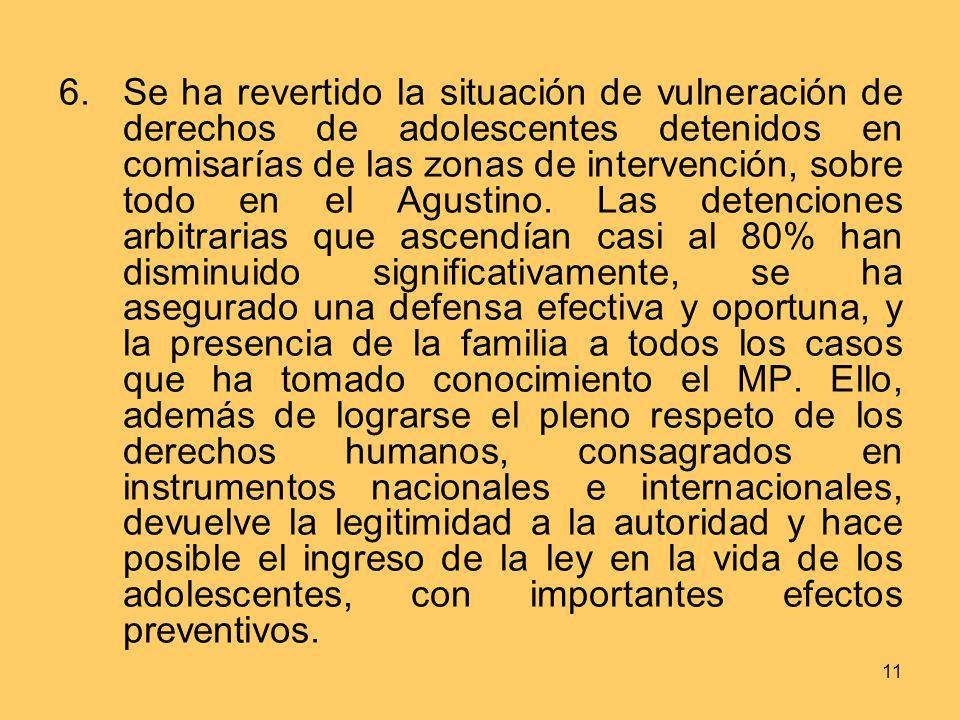 11 6.Se ha revertido la situación de vulneración de derechos de adolescentes detenidos en comisarías de las zonas de intervención, sobre todo en el Agustino.