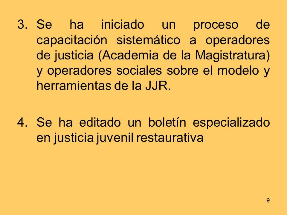 9 3.Se ha iniciado un proceso de capacitación sistemático a operadores de justicia (Academia de la Magistratura) y operadores sociales sobre el modelo y herramientas de la JJR.