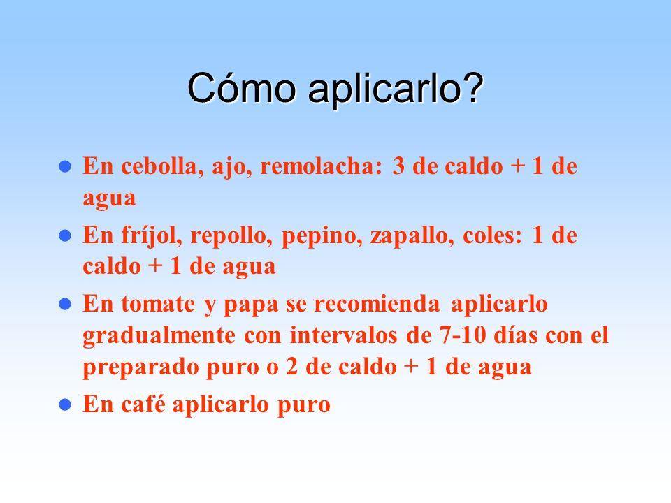 Cómo aplicarlo? En cebolla, ajo, remolacha: 3 de caldo + 1 de agua En fríjol, repollo, pepino, zapallo, coles: 1 de caldo + 1 de agua En tomate y papa