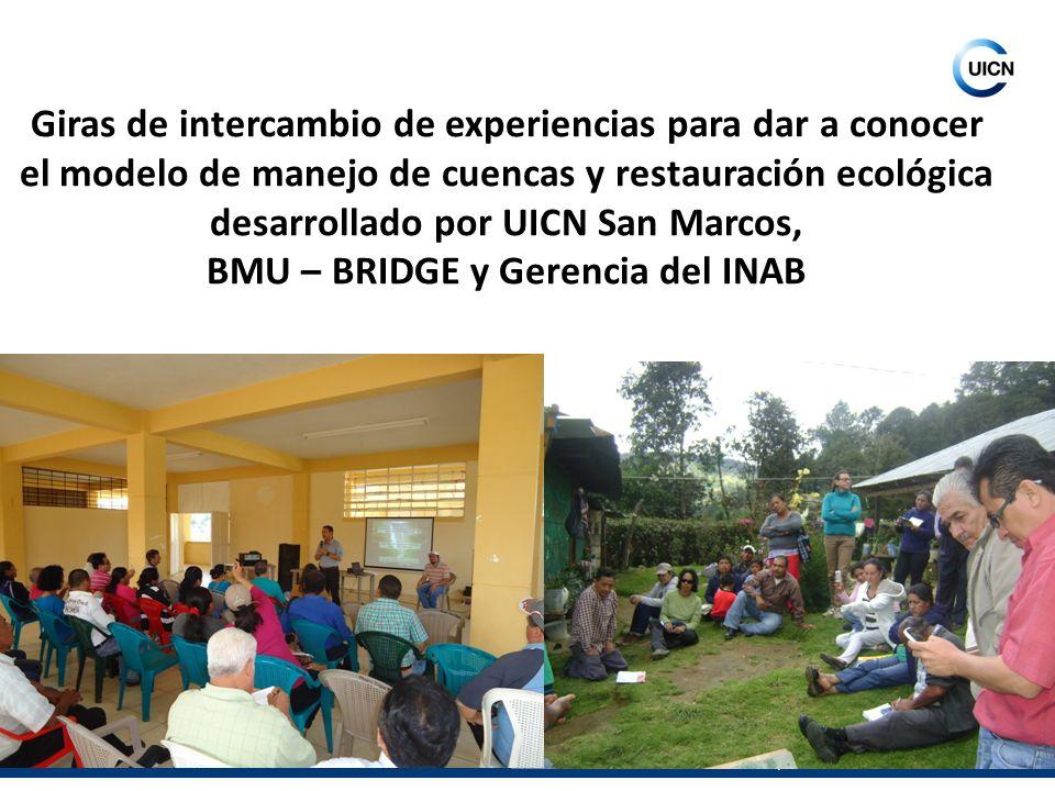 Unión Internacional para la Conservación de la Naturaleza Giras de intercambio de experiencias para dar a conocer el modelo de manejo de cuencas y res