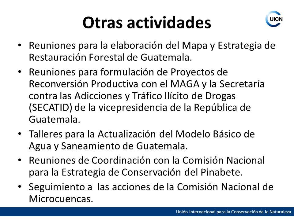 Otras actividades Reuniones para la elaboración del Mapa y Estrategia de Restauración Forestal de Guatemala. Reuniones para formulación de Proyectos d