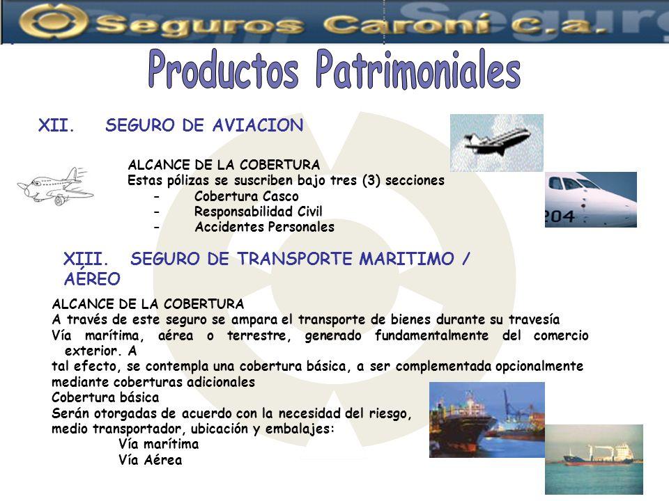 XII.SEGURO DE AVIACION ALCANCE DE LA COBERTURA Estas pólizas se suscriben bajo tres (3) secciones -Cobertura Casco - Responsabilidad Civil - Accidente