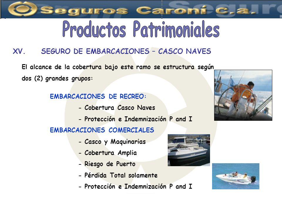 XV.SEGURO DE EMBARCACIONES – CASCO NAVES El alcance de la cobertura bajo este ramo se estructura según dos (2) grandes grupos: EMBARCACIONES DE RECREO