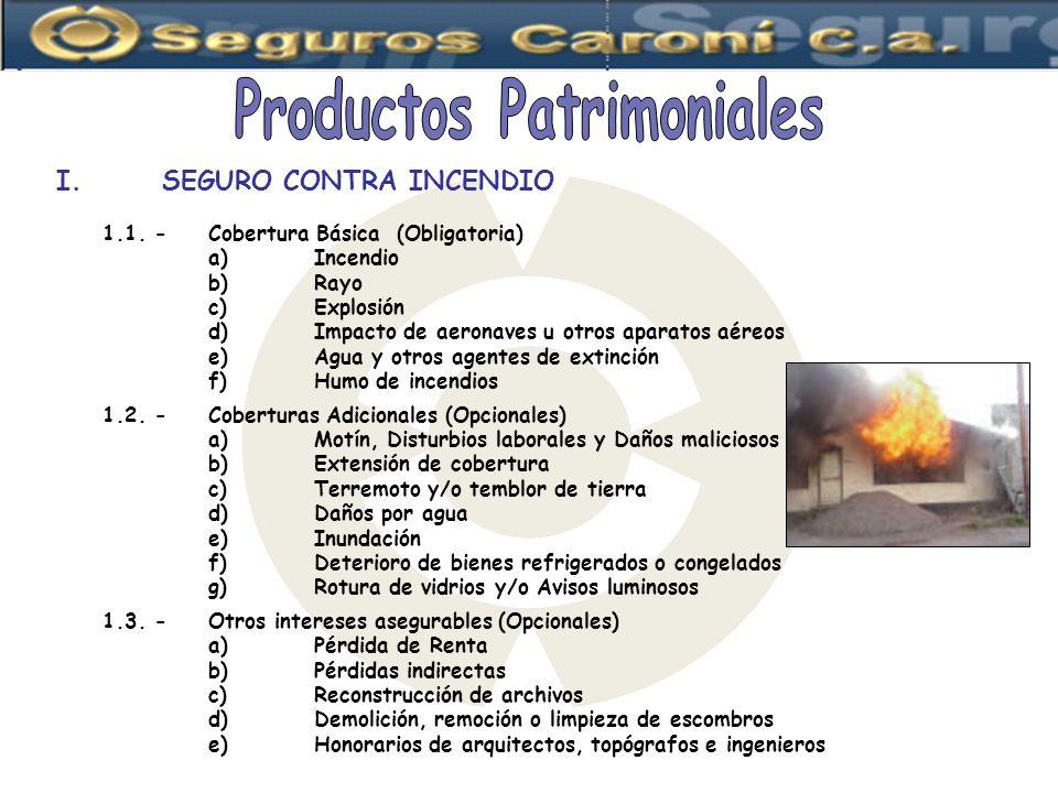 1.1. -Cobertura Básica (Obligatoria) a)Incendio b)Rayo c)Explosión d)Impacto de aeronaves u otros aparatos aéreos e)Agua y otros agentes de extinción