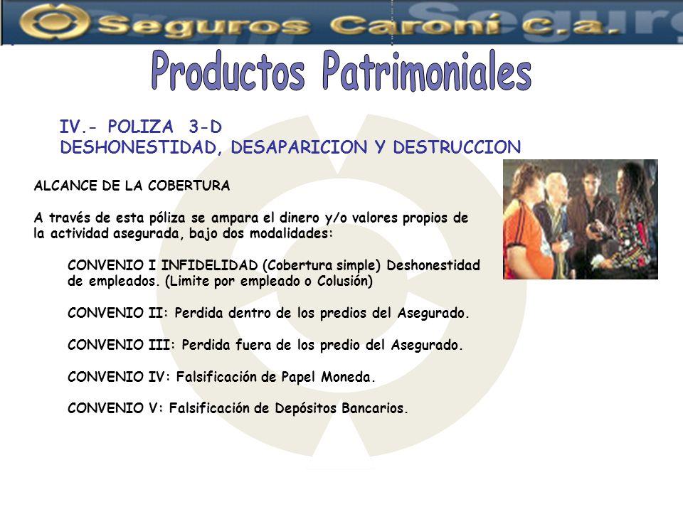 IV.-POLIZA 3-D DESHONESTIDAD, DESAPARICION Y DESTRUCCION ALCANCE DE LA COBERTURA A través de esta póliza se ampara el dinero y/o valores propios de la