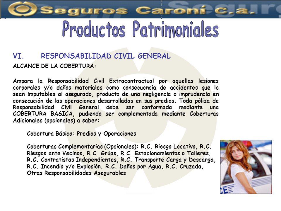 ALCANCE DE LA COBERTURA: Ampara la Responsabilidad Civil Extracontractual por aquellas lesiones corporales y/o daños materiales como consecuencia de a