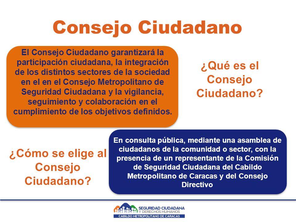 Consejo Ciudadano El Consejo Ciudadano garantizará la participación ciudadana, la integración de los distintos sectores de la sociedad en el en el Consejo Metropolitano de Seguridad Ciudadana y la vigilancia, seguimiento y colaboración en el cumplimiento de los objetivos definidos.