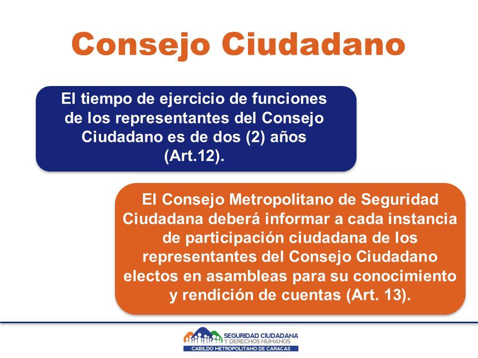 Consejo Ciudadano El Consejo Metropolitano de Seguridad Ciudadana deberá informar a cada instancia de participación ciudadana de los representantes del Consejo Ciudadano electos en asambleas para su conocimiento y rendición de cuentas (Art.