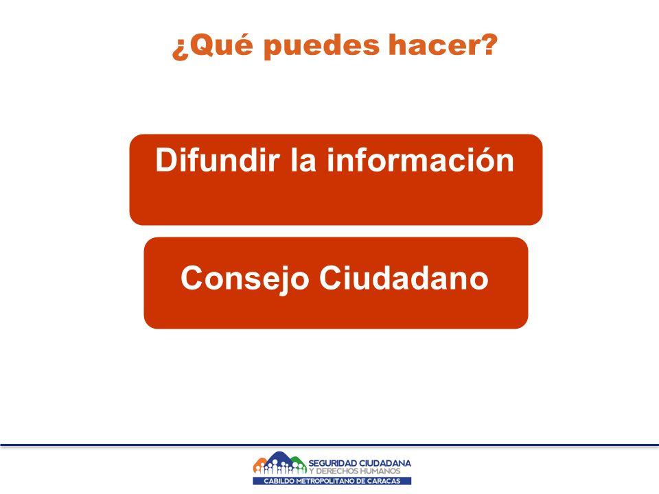 ¿Qué puedes hacer? Difundir la información Consejo Ciudadano