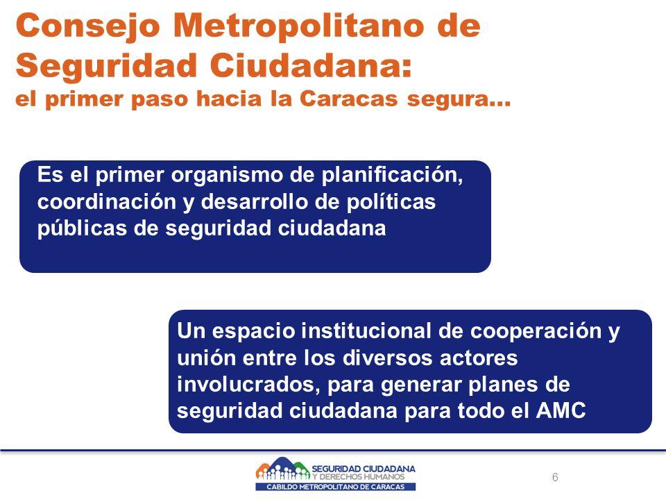 Creación del CMSC El Consejo Metropolitano de Seguridad Ciudadana se creará mediante una ordenanza metropolitana propuesta por el concejal metropolitano Freddy Guevara, presidente de la Comisión de Seguridad Ciudadana y Derechos Humanos del Cabildo Metropolitano de Caracas.