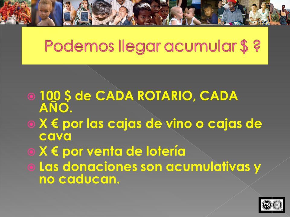 100 $ de CADA ROTARIO, CADA AÑO.