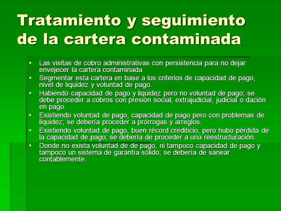 Tratamiento y seguimiento de la cartera contaminada Las visitas de cobro administrativas con persistencia para no dejar envejecer la cartera contamina