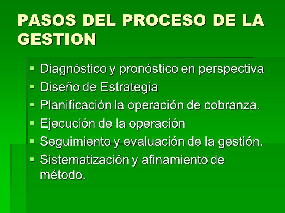 PASOS DEL PROCESO DE LA GESTION Diagnóstico y pronóstico en perspectiva Diagnóstico y pronóstico en perspectiva Diseño de Estrategia Diseño de Estrate