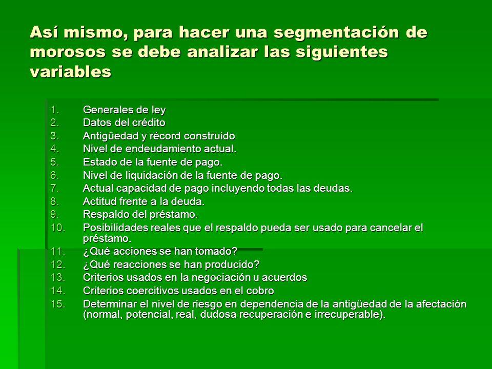 Así mismo, para hacer una segmentación de morosos se debe analizar las siguientes variables 1.Generales de ley 2.Datos del crédito 3.Antigüedad y réco