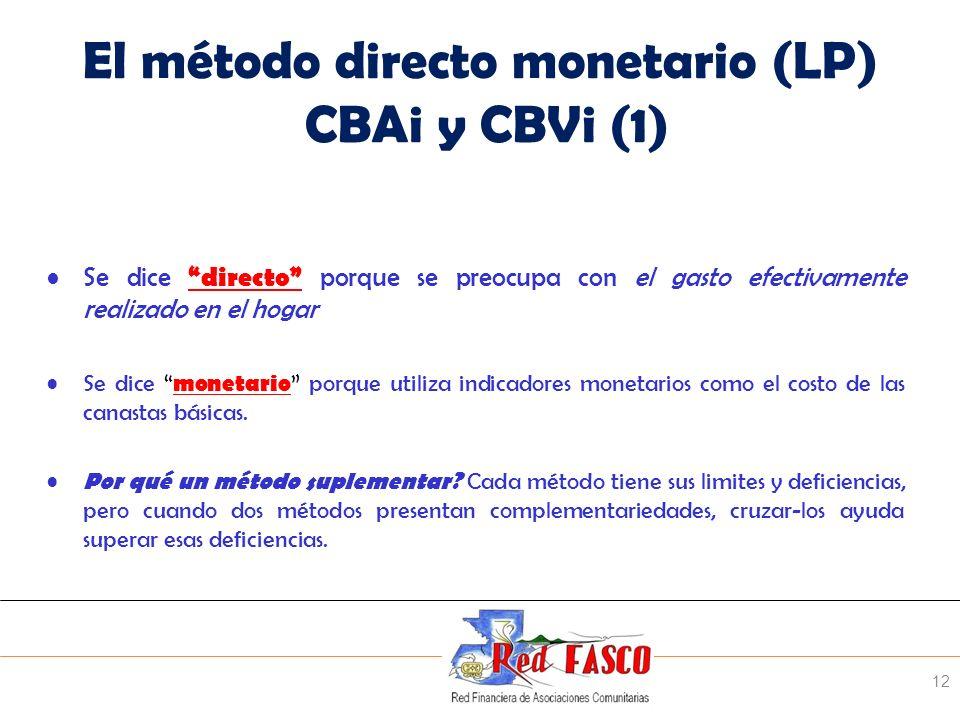 SOLIDARITE INTERNATIONALE POUR LE DEVELOPPEMENT ET LINVESTISSEMENT El método directo monetario (LP) CBAi y CBVi (1) Se dice directo porque se preocupa