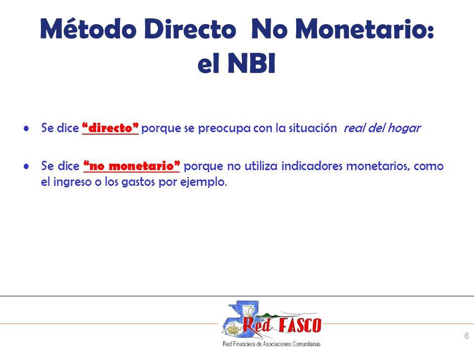SOLIDARITE INTERNATIONALE POUR LE DEVELOPPEMENT ET LINVESTISSEMENT Método Directo No Monetario: el NBI Se dice directo porque se preocupa con la situa
