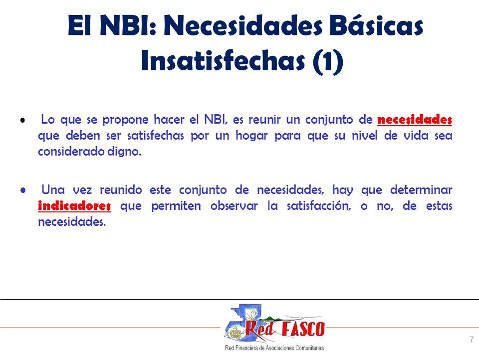 SOLIDARITE INTERNATIONALE POUR LE DEVELOPPEMENT ET LINVESTISSEMENT El NBI: Necesidades Básicas Insatisfechas (1) Lo que se propone hacer el NBI, es re