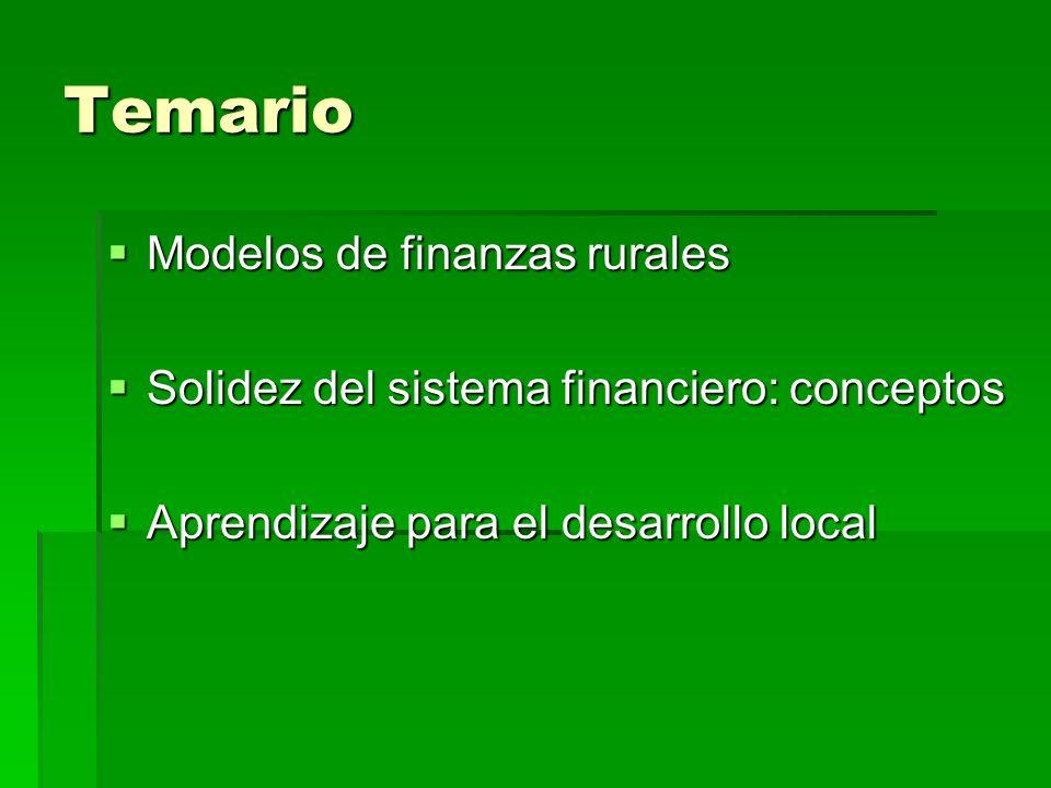 Temario Modelos de finanzas rurales Modelos de finanzas rurales Solidez del sistema financiero: conceptos Solidez del sistema financiero: conceptos Aprendizaje para el desarrollo local Aprendizaje para el desarrollo local
