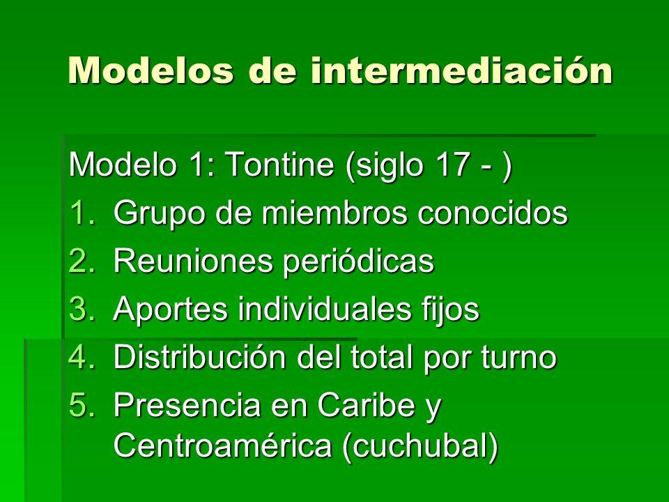 Modelos de intermediación Modelo 1: Tontine (siglo 17 - ) 1.Grupo de miembros conocidos 2.Reuniones periódicas 3.Aportes individuales fijos 4.Distribución del total por turno 5.Presencia en Caribe y Centroamérica (cuchubal)