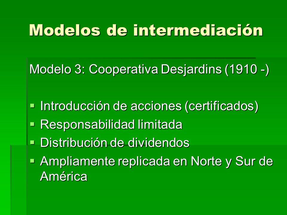 Modelos de intermediación Modelo 3: Cooperativa Desjardins (1910 -) Introducción de acciones (certificados) Introducción de acciones (certificados) Responsabilidad limitada Responsabilidad limitada Distribución de dividendos Distribución de dividendos Ampliamente replicada en Norte y Sur de América Ampliamente replicada en Norte y Sur de América