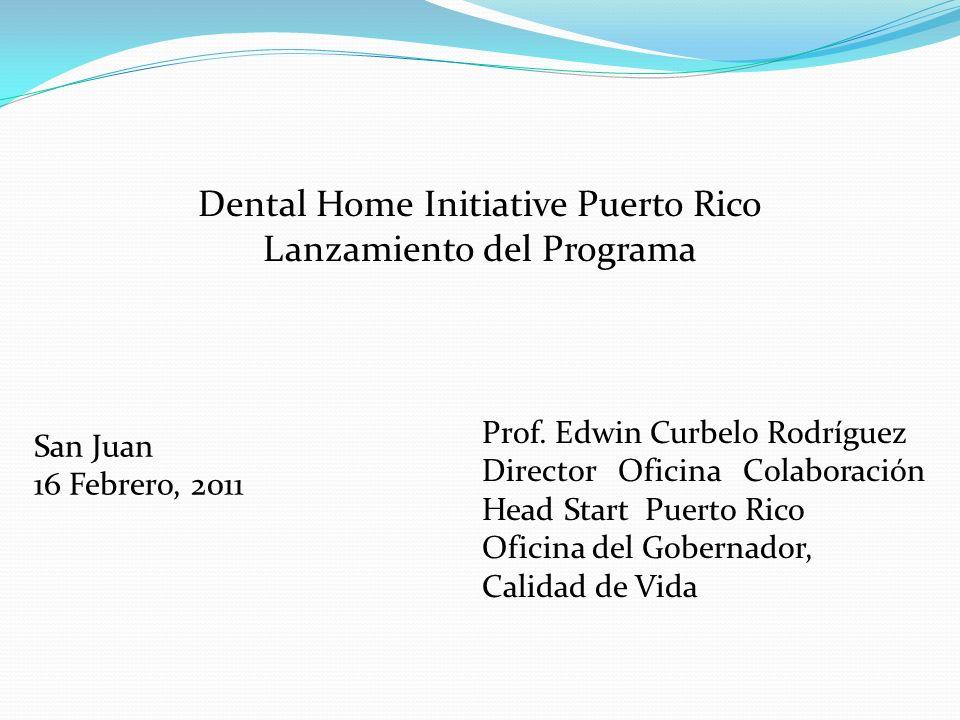Dental Home Initiative Puerto Rico Lanzamiento del Programa San Juan 16 Febrero, 2011 Prof.