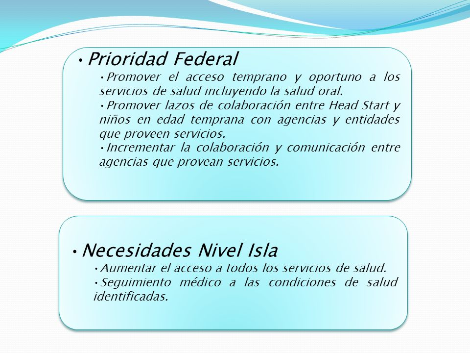 Prioridad Federal Promover el acceso temprano y oportuno a los servicios de salud incluyendo la salud oral.