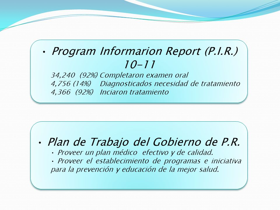Program Informarion Report (P.I.R.) 10-11 34,240 (92%) Completaron examen oral 4,756 (14%) Diagnosticados necesidad de tratamiento 4,366 (92%) Inciaron tratamiento Program Informarion Report (P.I.R.) 10-11 34,240 (92%) Completaron examen oral 4,756 (14%) Diagnosticados necesidad de tratamiento 4,366 (92%) Inciaron tratamiento Plan de Trabajo del Gobierno de P.R.