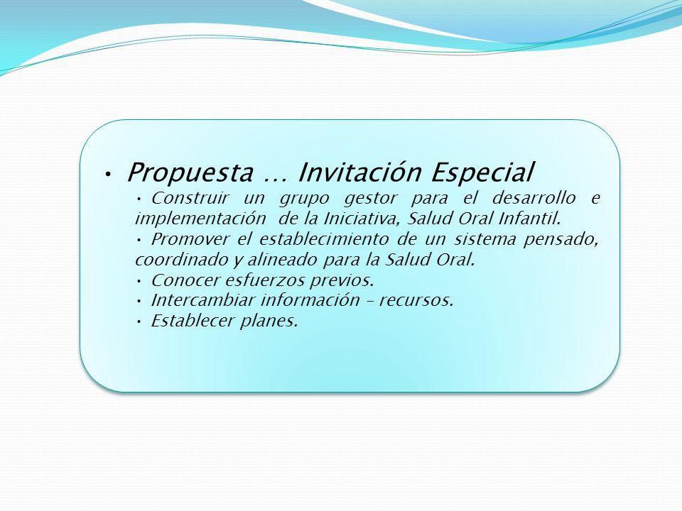 Propuesta … Invitación Especial Construir un grupo gestor para el desarrollo e implementación de la Iniciativa, Salud Oral Infantil.
