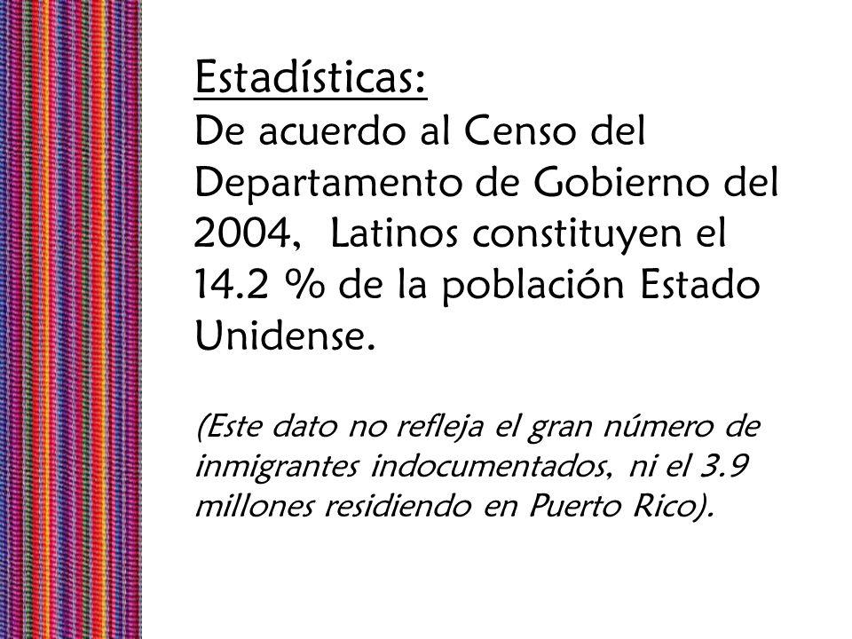 Estadísticas: De acuerdo al Censo del Departamento de Gobierno del 2004, Latinos constituyen el 14.2 % de la población Estado Unidense. (Este dato no