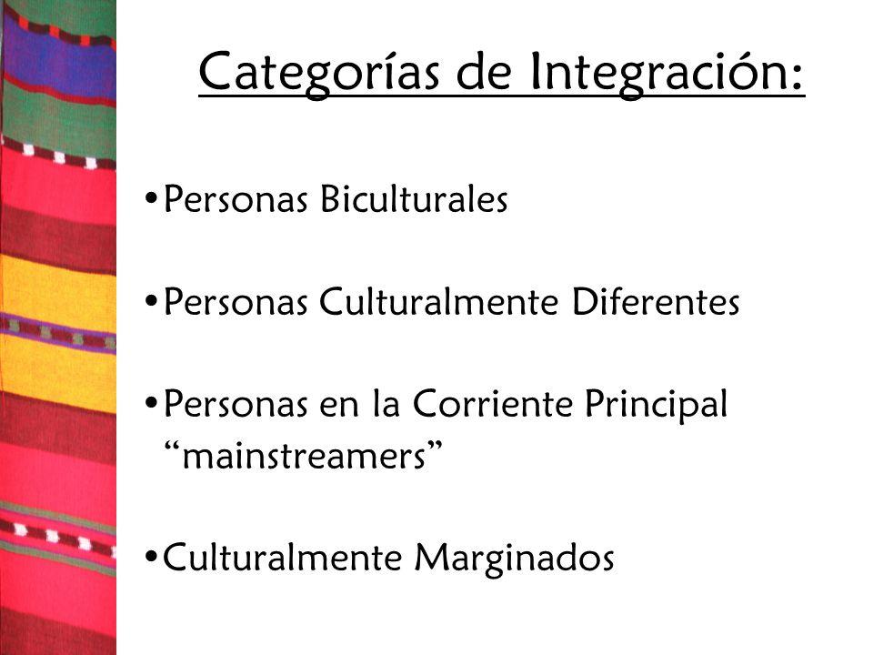 Categorías de Integración: Personas Biculturales Personas Culturalmente Diferentes Personas en la Corriente Principal mainstreamers Culturalmente Marg