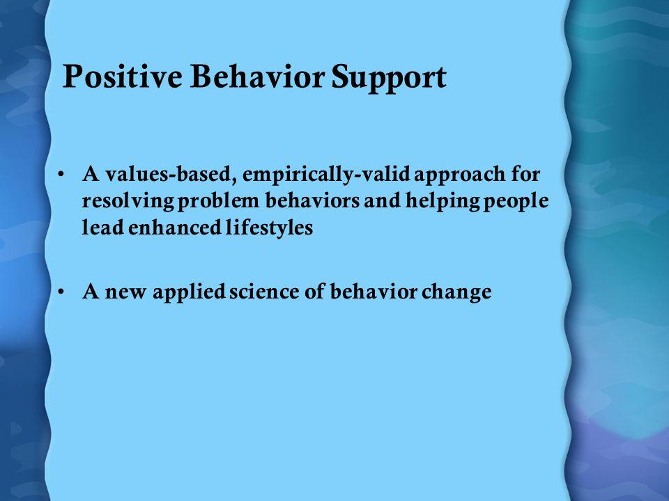El modo del pasado Intervención general para todo problema de comportamiento La intervención es reactiva Enfoque en la reducción del comportamiento Solución rápida El modo nuevo Intervención correspondiente al propósito del comportamiento La intervención es proactiva Enfoque en la enseñanza de nuevas habilidades Intervenciones de largo plazo
