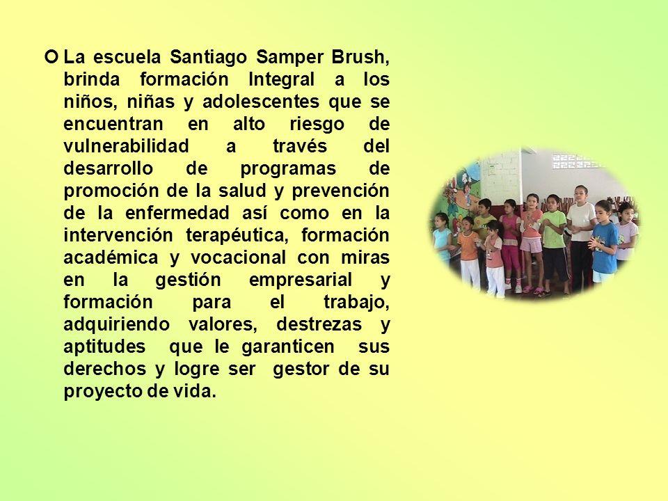 La escuela Santiago Samper Brush, brinda formación Integral a los niños, niñas y adolescentes que se encuentran en alto riesgo de vulnerabilidad a tra