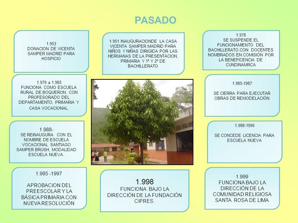PASADO 1.953 DONACION DE VICENTA SAMPER MADRID PARA HOSPICIO 1.951 INAUGURACIONDE LA CASA VICENTA SAMPER MADRID PARA NIÑOS Y NIÑAS DIRIGIDA POR LAS HE