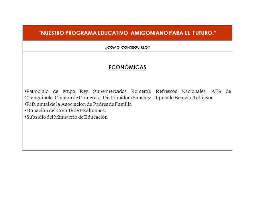 NUESTRO PROGRAMA EDUCATIVO AMIGONIANO PARA EL FUTURO. ¿CÓMO CONSEGUIRLO? ECONÓMICAS Patrocinio de grupo Rey (supermercados Romero), Refrescos Nacional