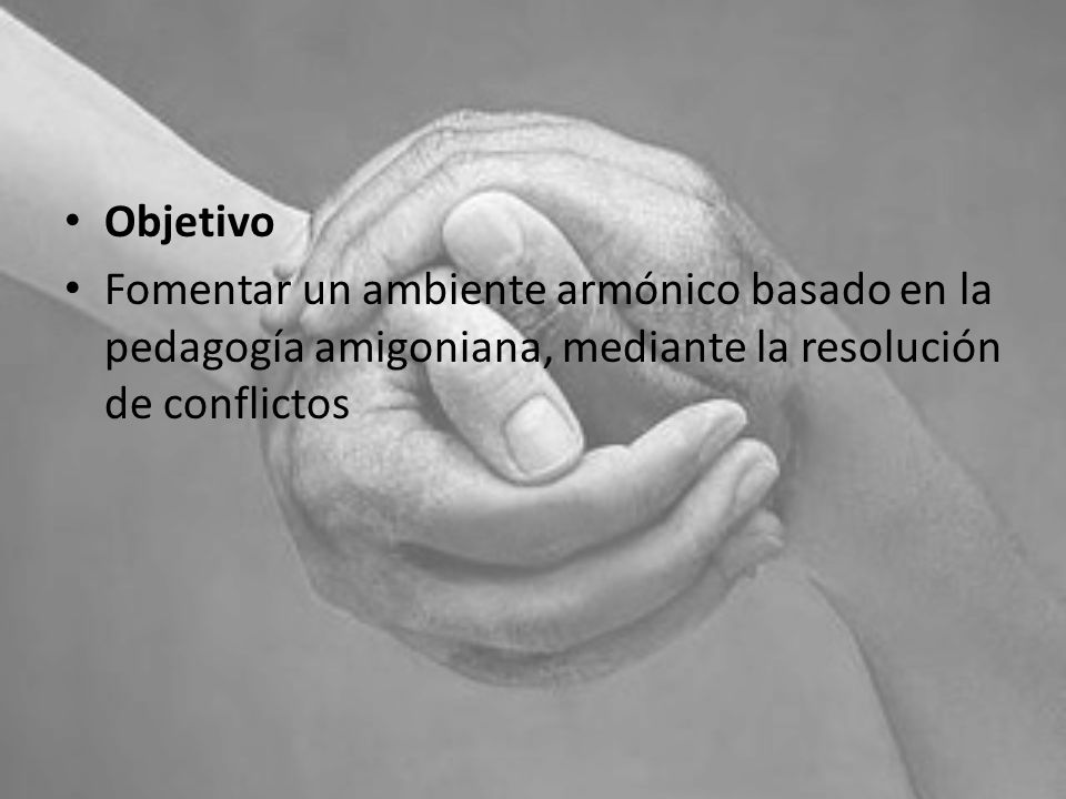 Objetivo Fomentar un ambiente armónico basado en la pedagogía amigoniana, mediante la resolución de conflictos