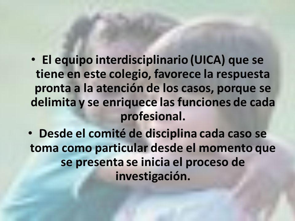 El equipo interdisciplinario (UICA) que se tiene en este colegio, favorece la respuesta pronta a la atención de los casos, porque se delimita y se enriquece las funciones de cada profesional.